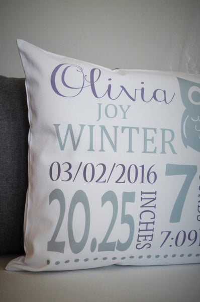 Ow; Themed Personalized birth pillow cover - Our Traditions Boutique - 2