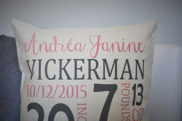 Baby Girl Personalized birth pillow cover - Our Traditions Boutique - 3