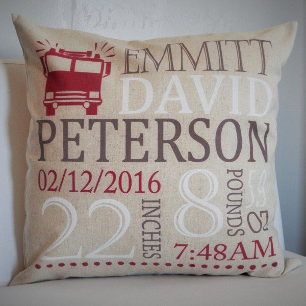 Firetruck Themed Personalized birth pillow cover - Our Traditions Boutique - 1
