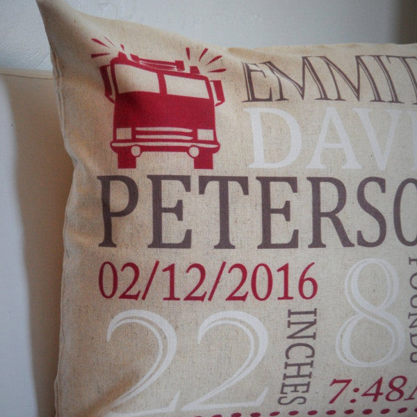 Firetruck Themed Personalized birth pillow cover - Our Traditions Boutique - 2