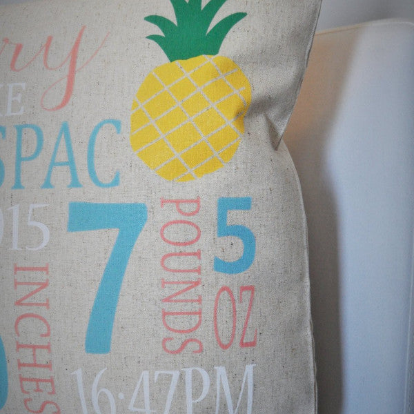 Pineapple Themed Personalized birth pillow cover - Our Traditions Boutique - 2