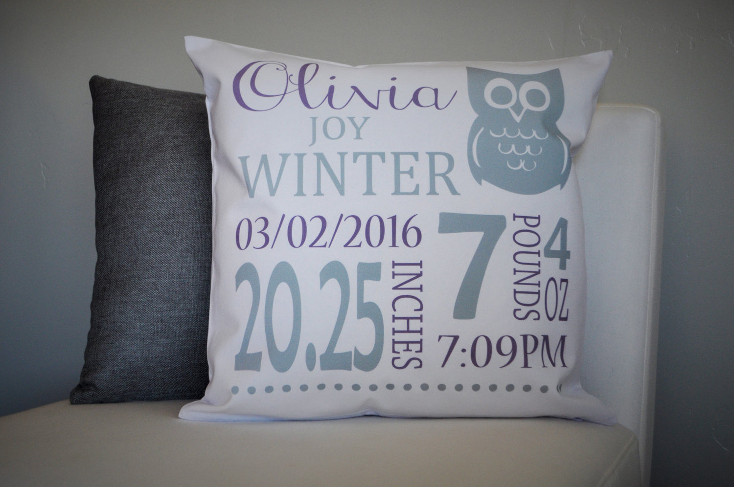 Ow; Themed Personalized birth pillow cover - Our Traditions Boutique - 1