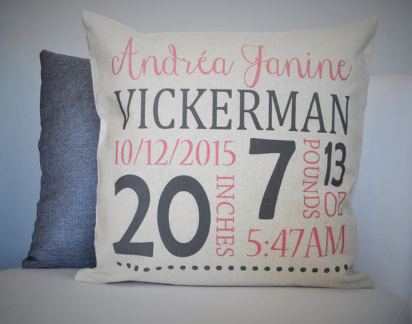 Baby Girl Personalized birth pillow cover - Our Traditions Boutique - 1