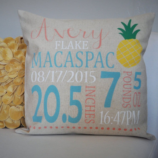Pineapple Themed Personalized birth pillow cover - Our Traditions Boutique - 1