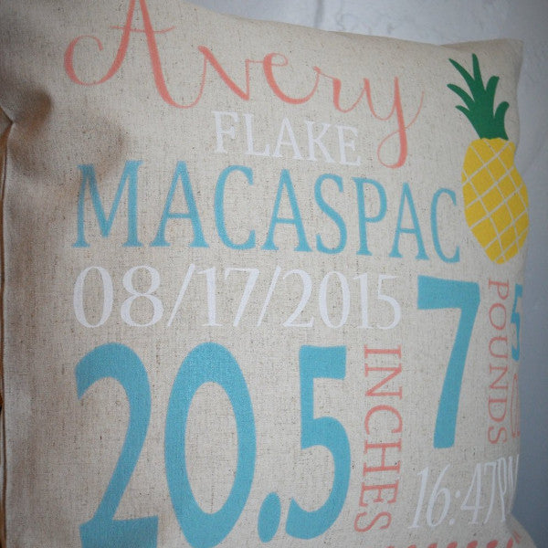 Pineapple Themed Personalized birth pillow cover - Our Traditions Boutique - 4