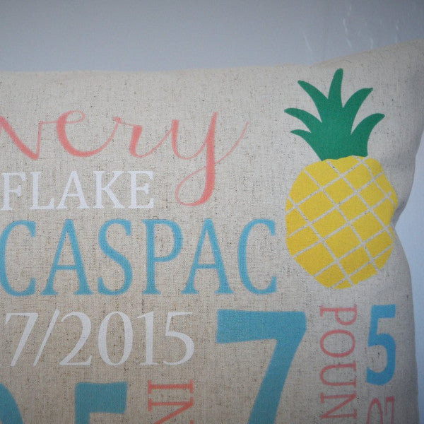 Pineapple Themed Personalized birth pillow cover - Our Traditions Boutique - 3