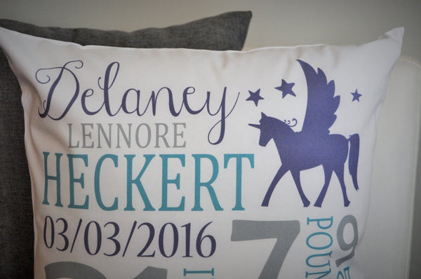 Unicorn Themed Personalized birth pillow cover - Our Traditions Boutique - 2