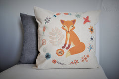Fox Pillow Cover, Fox nursery decor, Girl fox, woodland nursery, woodland bedroom, woodland decor, fox decor, 18x18, natural or white