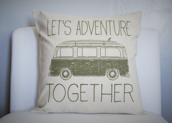 SUMMER CLEARANCE SALE, Let's Adventure together, vdub pillow cover, adventure pillow cover, summer pillow cover - Our Traditions Boutique - 1