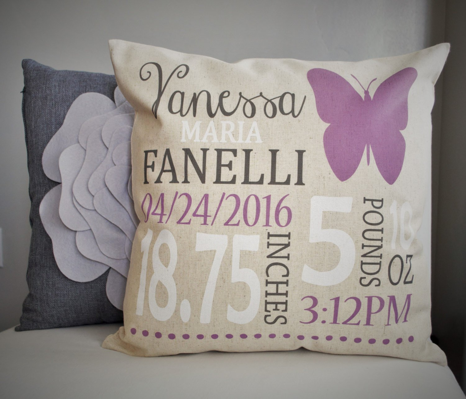 Personalized birth pillow cover, birth Announcement pillow cover, Stats Pillow, baby girl birth pillow, Butterfly Nursery, CUSTOMIZE, 18x18