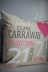 Personalized birth pillow cover, birth Announcement pillow cover, Stats Pillow, baby girl birth pillow, heart Nursery