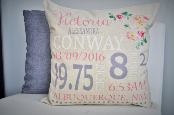 Personalized birth pillow cover, birth Announcement pillow cover, Stats Pillow, baby girl birth pillow, Vintage Nursery, CUSTOMIZE, 18x18 - Our Traditions Boutique - 1