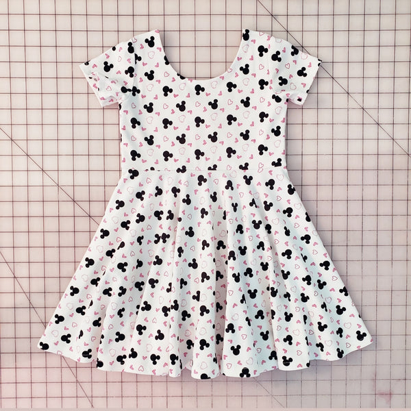 Girl's Ivory Mickey & Hearts Twirl Dress