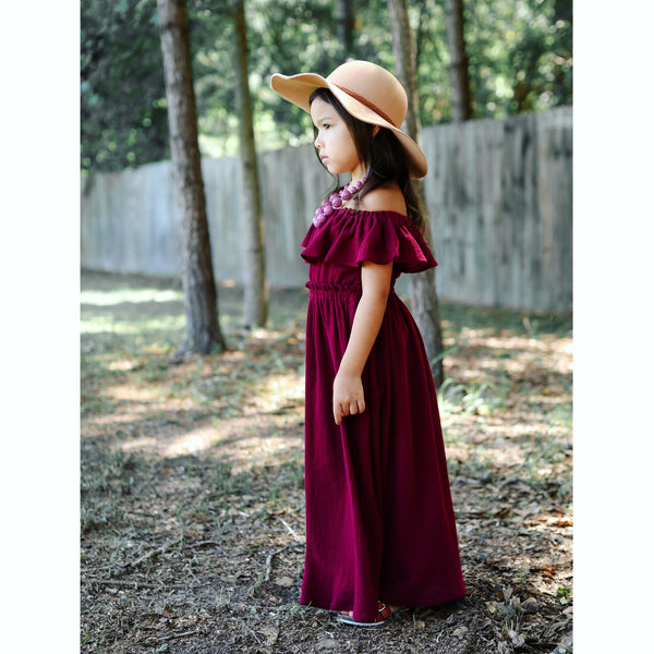 Girl's Burgundy Off The Shoulder Maxi Dress