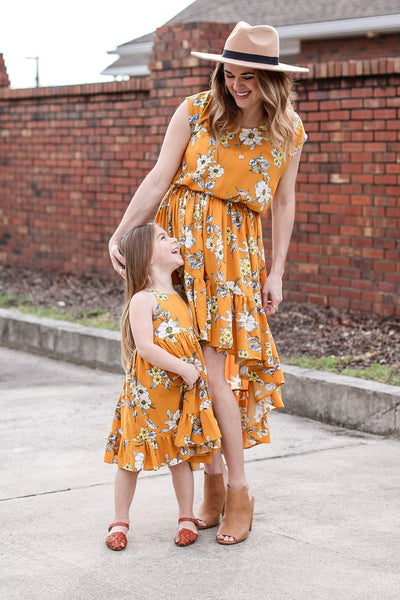 Girls Mustard Floral Tie Back Ruffle Twirl Dress