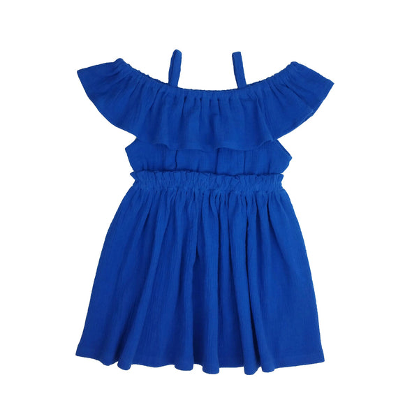 (2T-14Y) Blue Off The Shoulder Dress