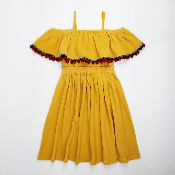 (2T-14Y) Boho Mustard Yellow Off The Shoulder Dress