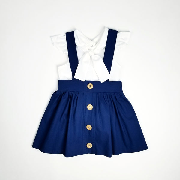 (2T-12Y) Navy & White: Bow Back Suspender Skirt & Top