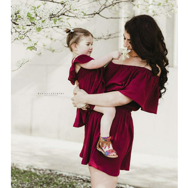 Womens Burgundy Off The Shoulder Dress