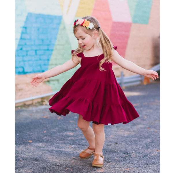 Girl's Tiered Burgundy Dress