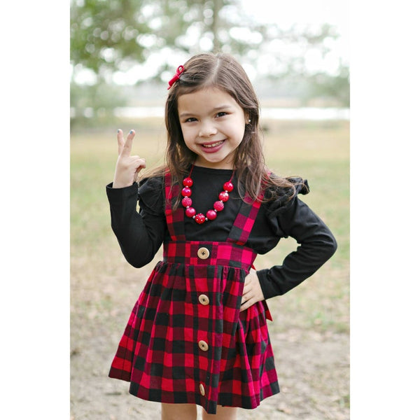 Girl's Buffalo Plaid Bow Back Suspender Skirt