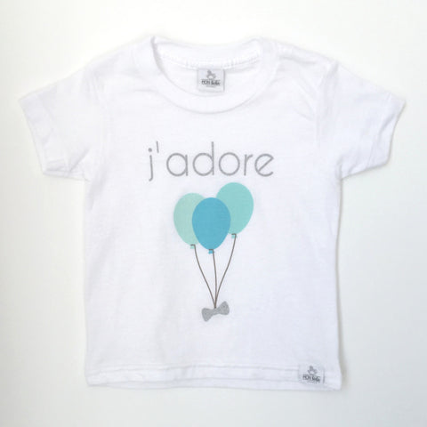 j'adore balloon blue toddler shirt