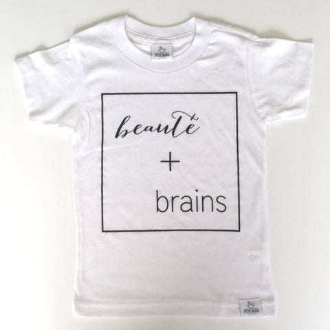 beauté + brains white toddler shirt