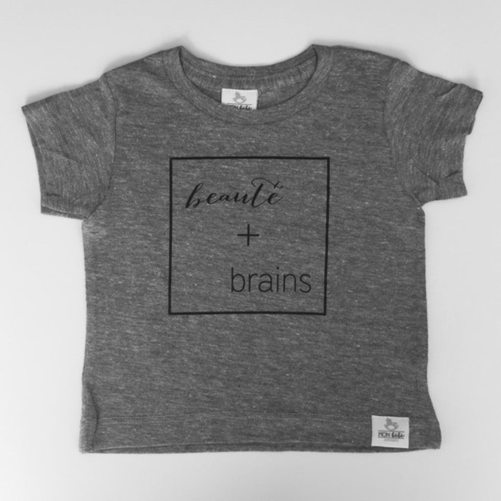 beauté + brains grey toddler shirt