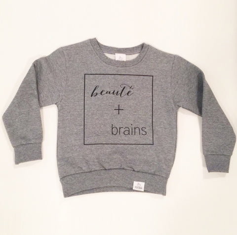 beauté + brains toddler sweatshirt
