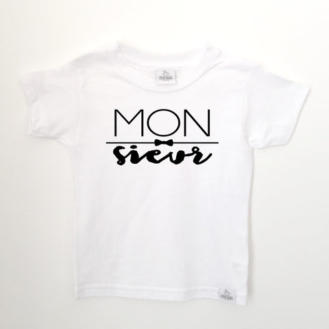 monsieur white toddler shirt