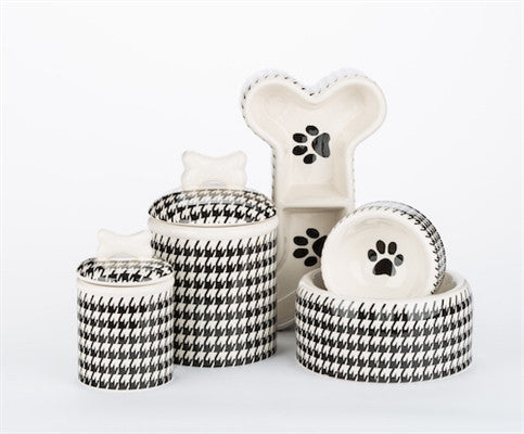 Houndstooth - Bone Shaped Divided Bowl - Black & White