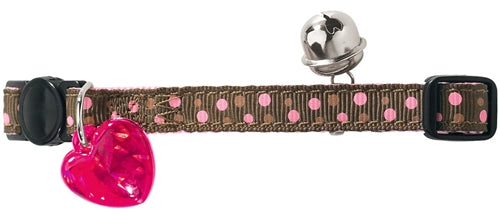 Hunter Cat Collar - Brown & Pink Dots