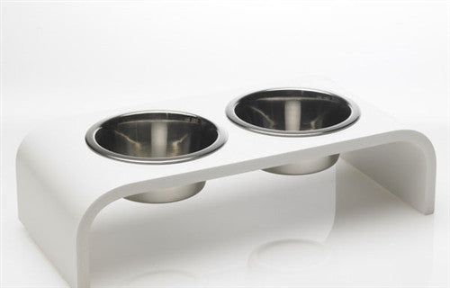 Elevated 2 Bowl Pet Feeder - White