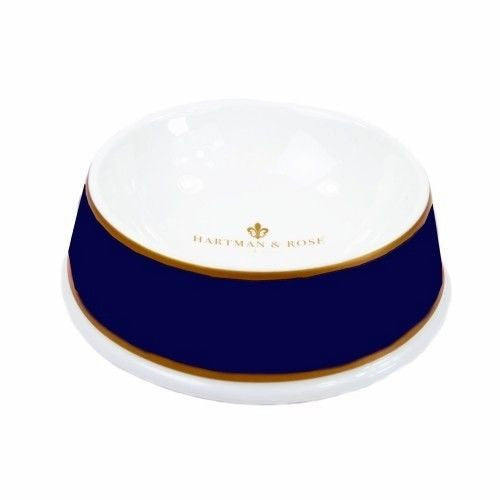 Hartman and Rose Porcelain Luxury Dog Bowl - Navy & Gold