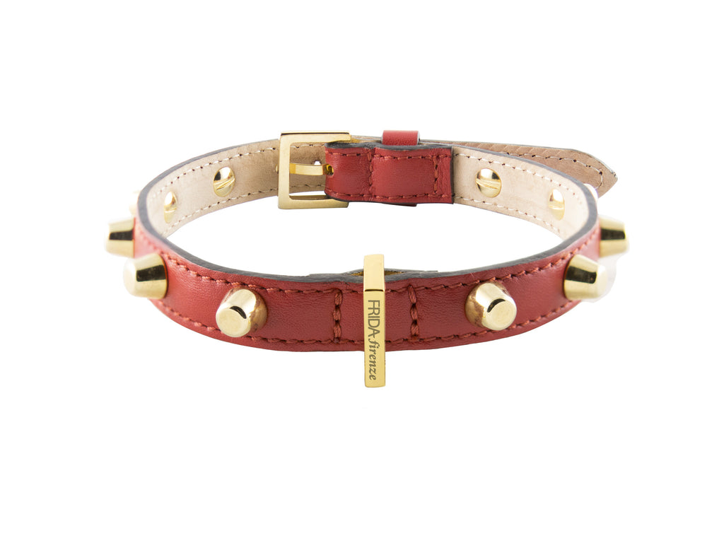 Frida - Studs & Italian Leather - Ruby Red