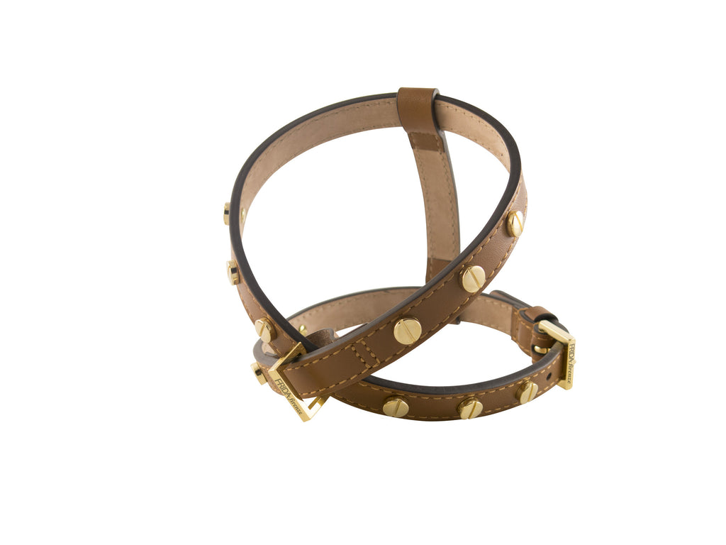 Frida - Screw Stud Leather Harness - Brown