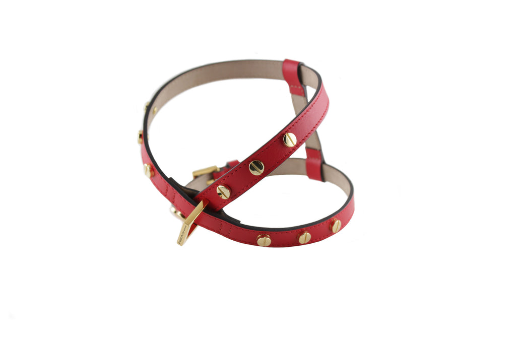 Frida - Screw Stud Leather Harness - Ruby Red