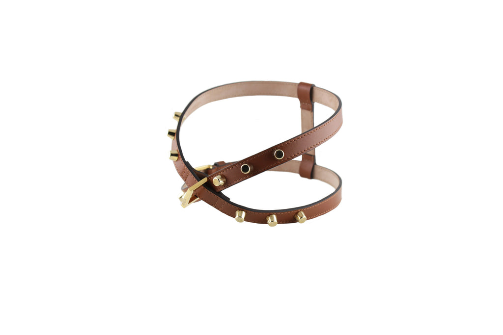 Frida - Stud Leather Harness - Brown