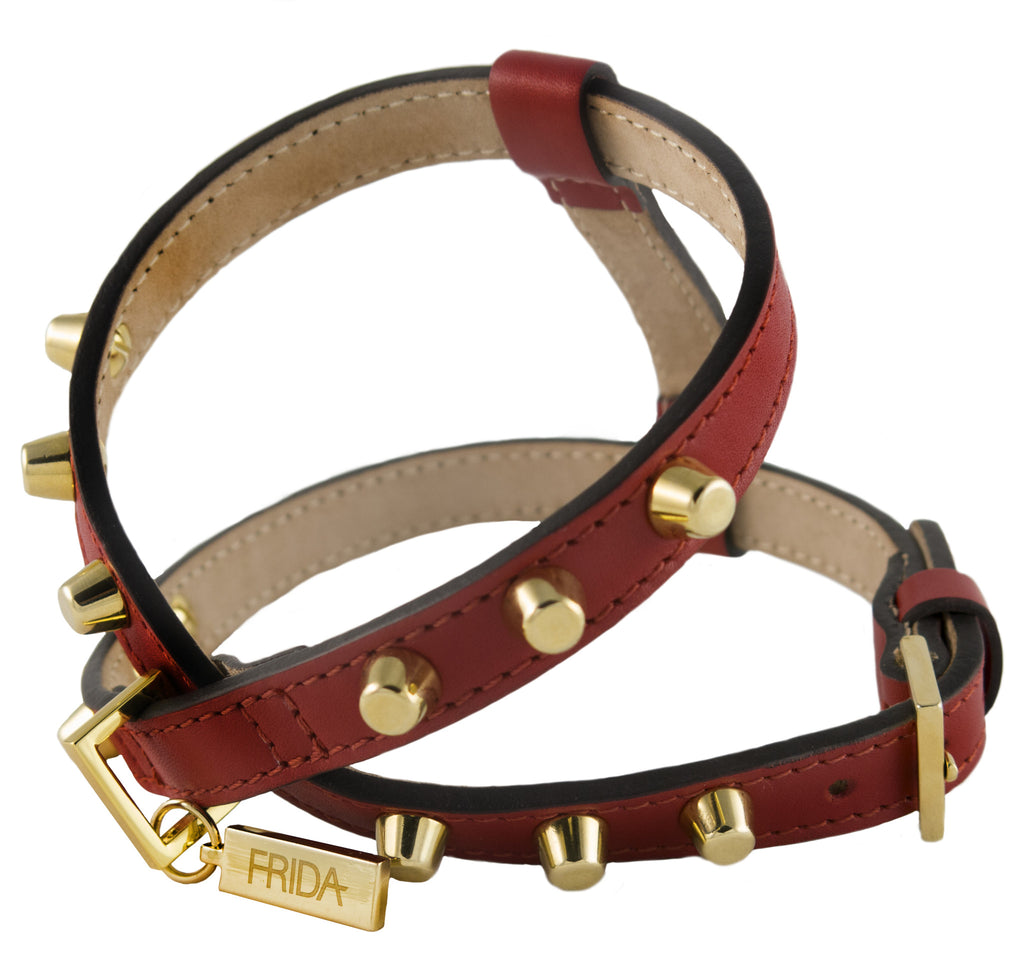 Frida - Stud Leather Harness - Ruby Red