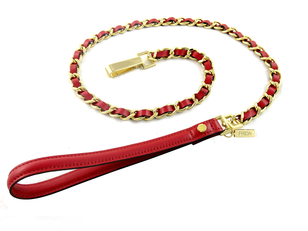 Frida Napa Leather & Chain - Ruby Red