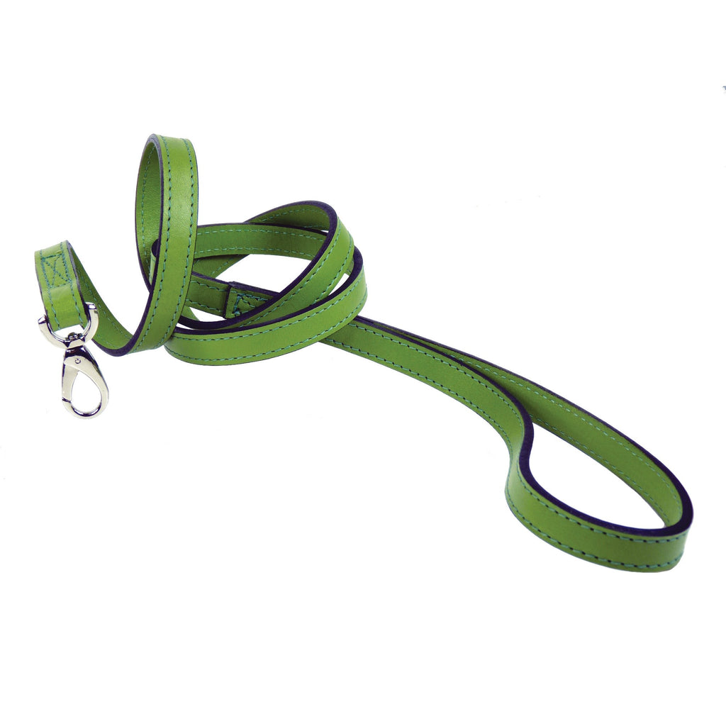 Italian Leather Lead - Cut Grass Green & Silver