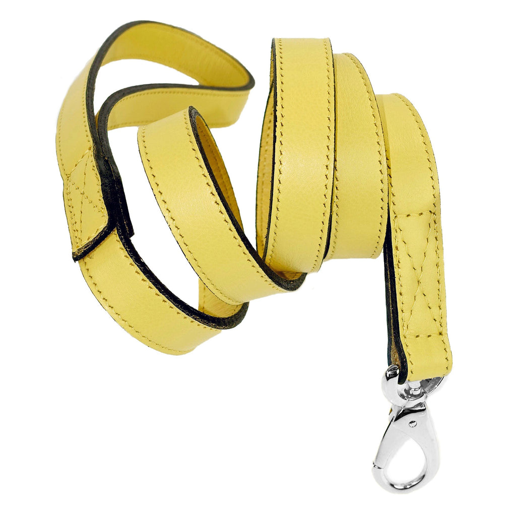 Italian Leather Lead - Canary Yellow & Silver