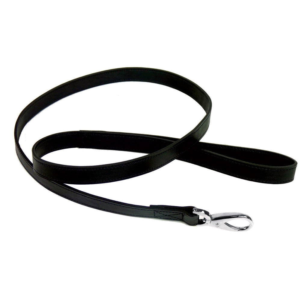 Italian Leather Lead - Black & Silver