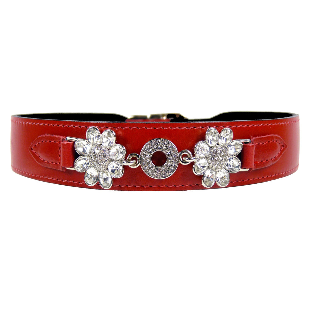 Daisy Swarovski clear stones - Red