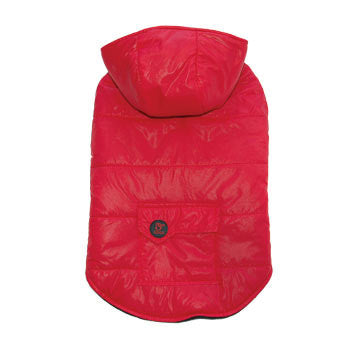 Dashing Dog Parka with Detachable Hoodie - Red