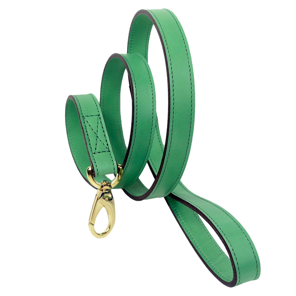 Italian Leather Lead - Emerald Green & Gold