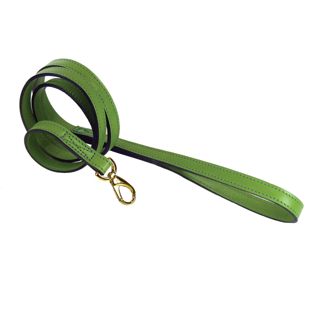 Italian Leather Lead - Cut Grass Green & Gold
