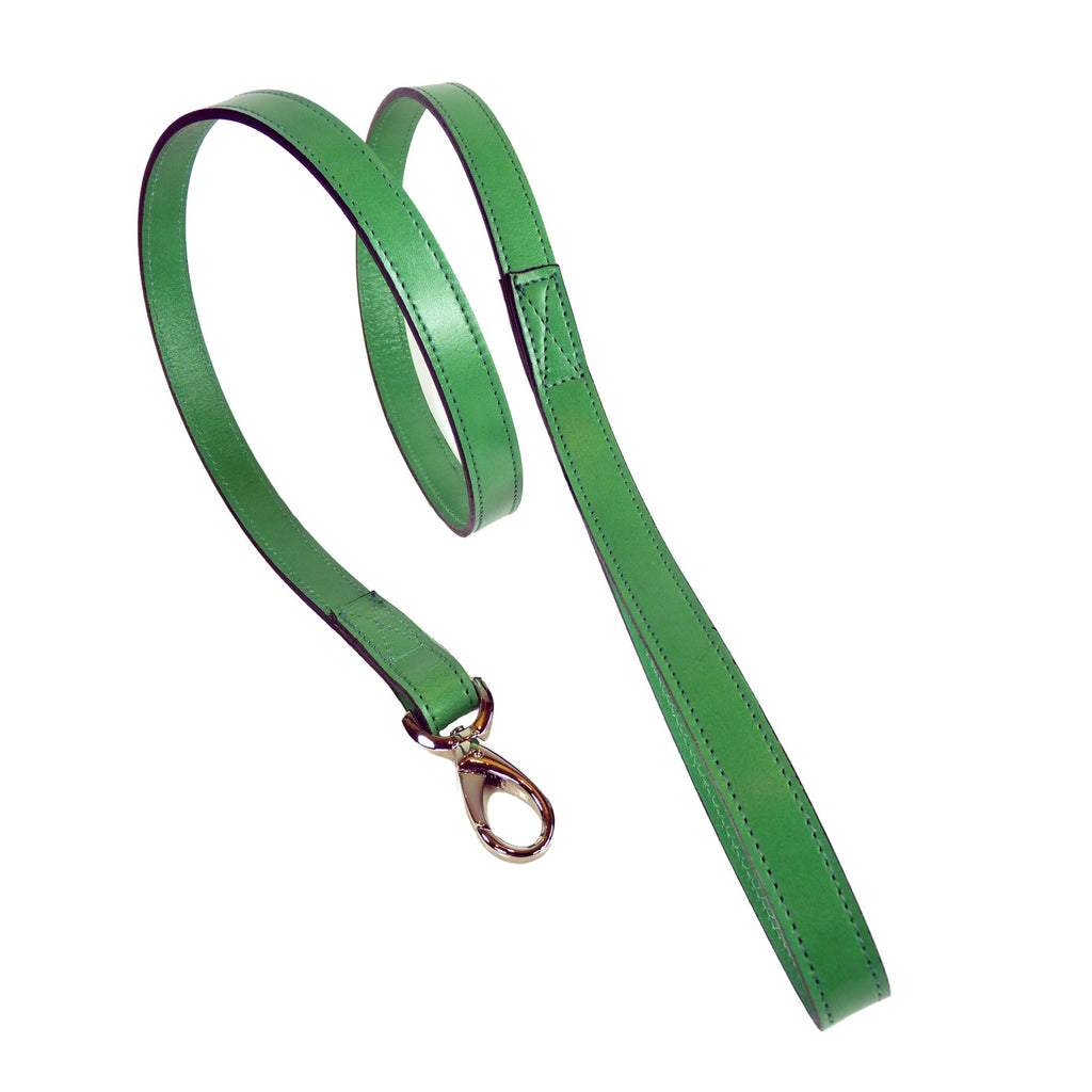 Italian Leather Lead - Emerald Green & Silver