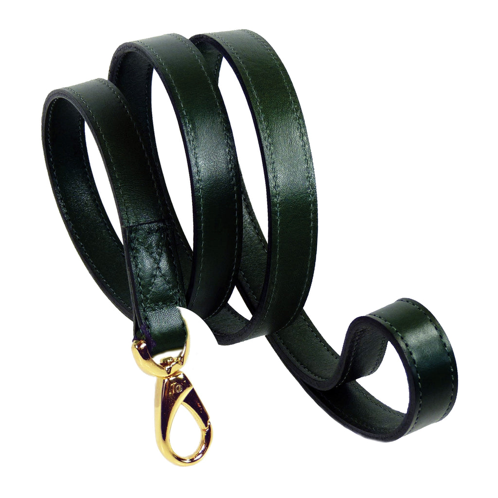 Italian Leather Lead - Hunter Green & Gold