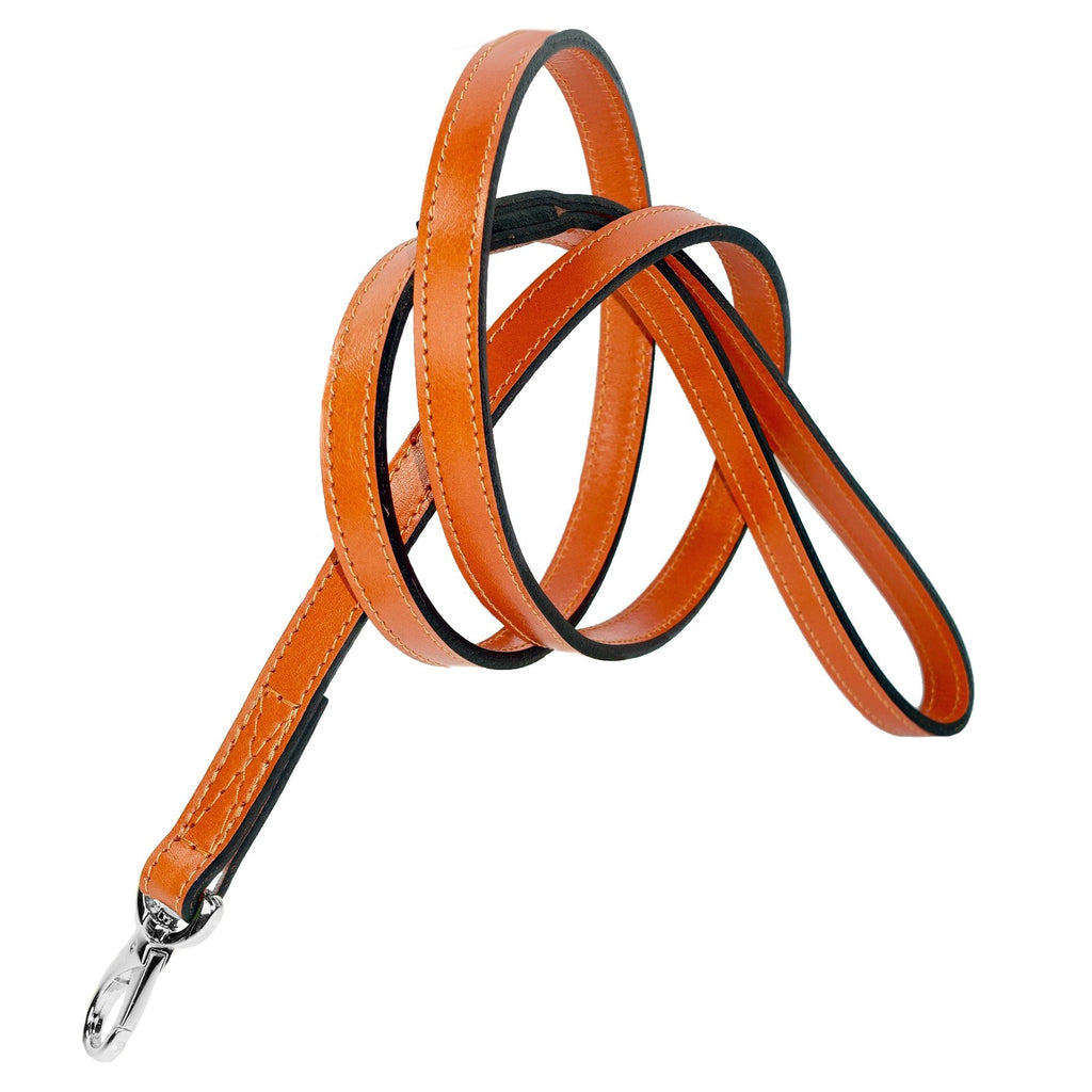 Italian Leather Lead -Tangerine Orange & Silver